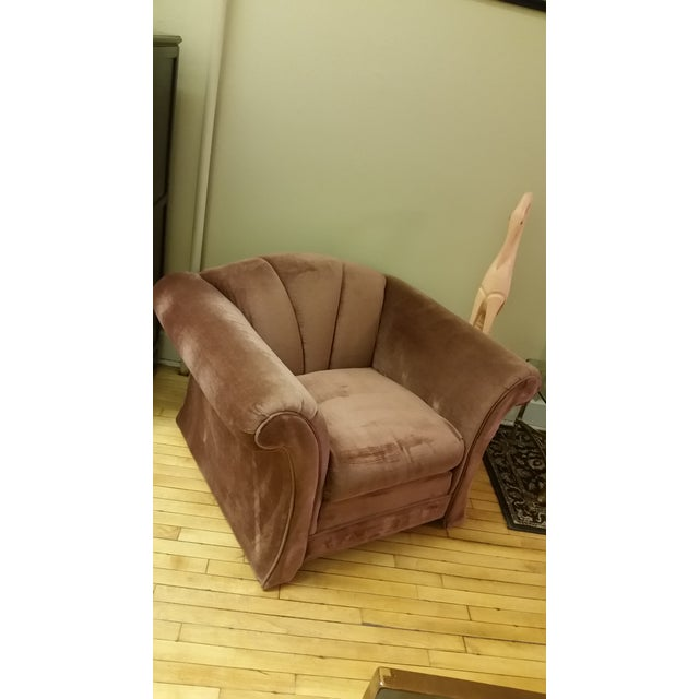 Art Deco 1980s Mauve Upholstered Clamshell Arm Chair For Sale - Image 3 of 7