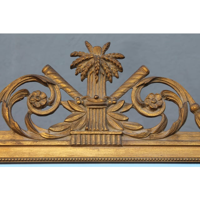 1940s 1940's Neoclassical Style Carved Walnut Wall Mirror For Sale - Image 5 of 13