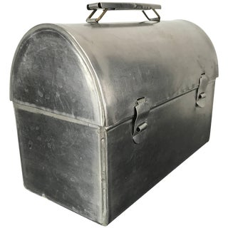 Handcrafted Stainless Steel Machine Age Dome Lunch Box / Container For Sale