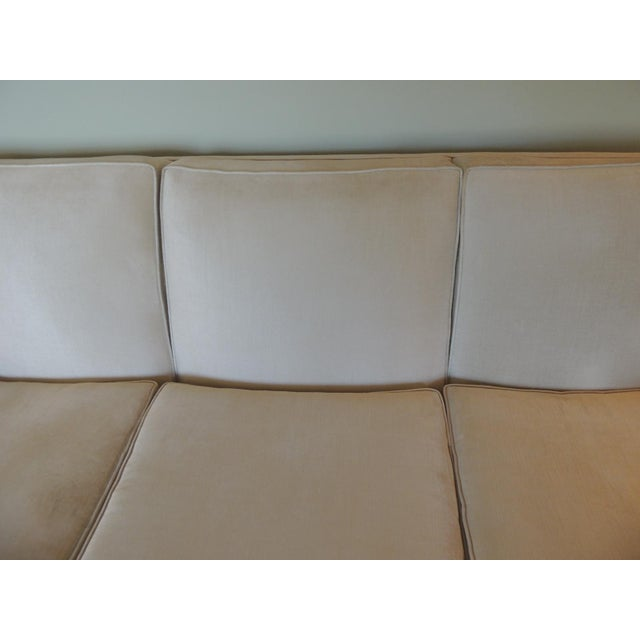 Vintage Long Three Cushion Velvet Upholstered Sofa For Sale In Miami - Image 6 of 11