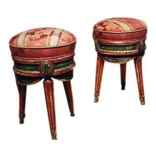 Pair of French Painted Stools For Sale
