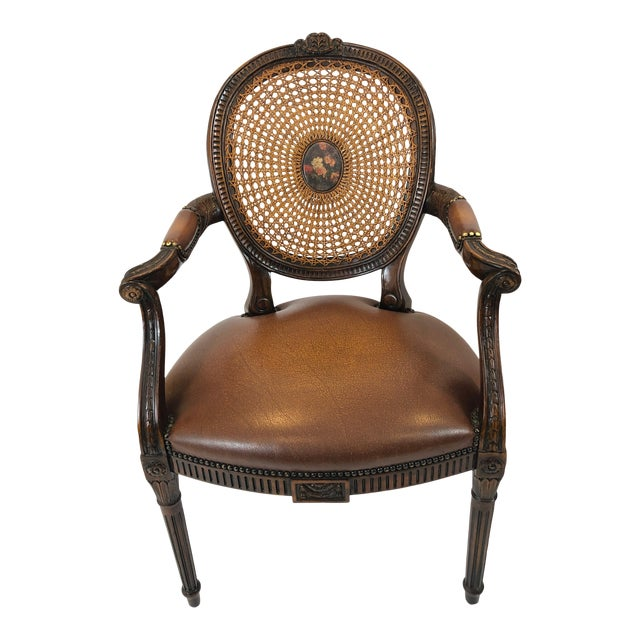 Caned Cameo Back Armchair With Leather Seat For Sale
