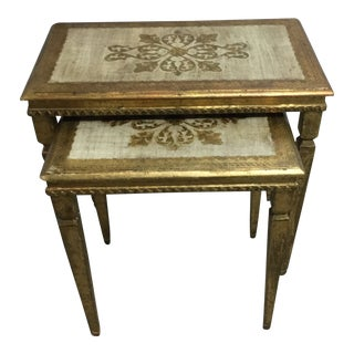 Gold Italian Nesting Tables - a Pair For Sale