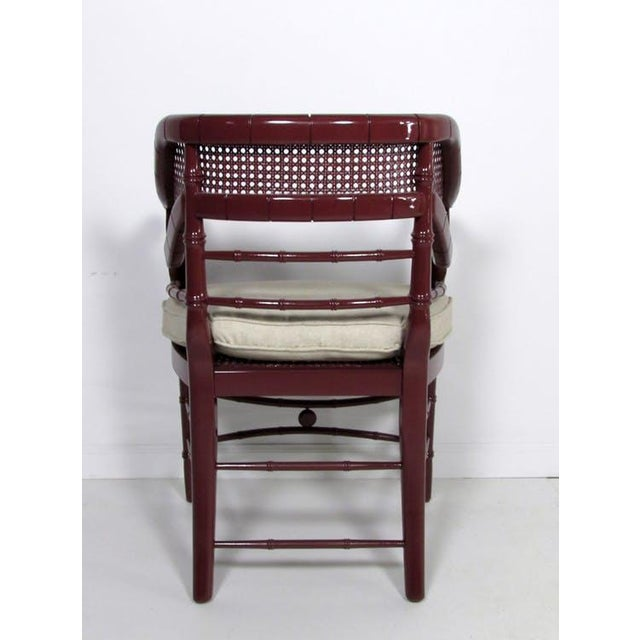 Faux Bamboo & Cane Lacquered Club Chair - Image 5 of 8