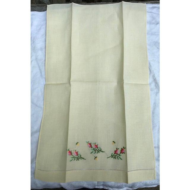 Antique Lemon Yellow Linen Hand Towel For Sale - Image 4 of 5