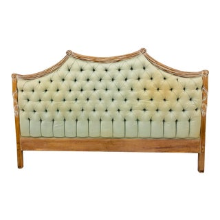 Vintage Hollywood Regency Style Tufted Headboard For Sale