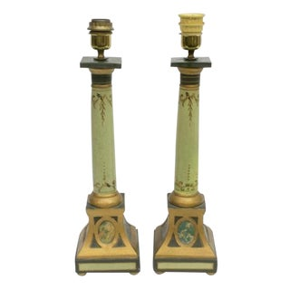 Empire Style Italian Parcel Gilt Painted Terra Cotta Table Lamps - a Pair For Sale