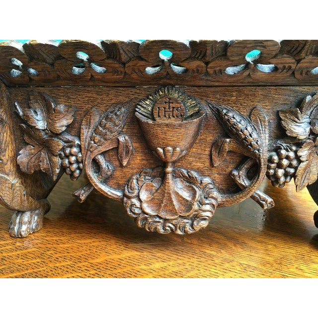 Turquoise Late 19th Century Antique English Carved Oak Altar Stand For Sale - Image 8 of 11