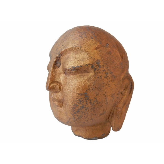 Gilt Stone Buddha Head For Sale - Image 4 of 5