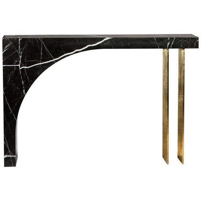 2010s Found II Console Table No.2 in Black Marble by a Space For Sale - Image 5 of 5