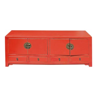 Chinese Distressed Red Low Tv Console Table Cabinet For Sale