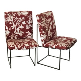 Dining Chairs by Milo Baughman for Thayer Coggin Chrome Frame With Linen Upholstery - Set of 6 For Sale