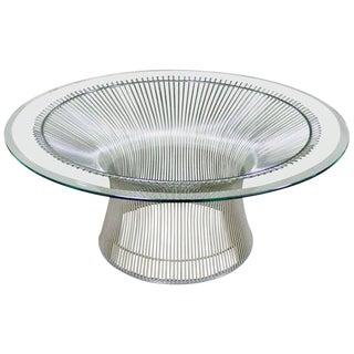 Warren Platner Nickel Steel Rod Coffee Table for Knoll Beveled Glass Top For Sale