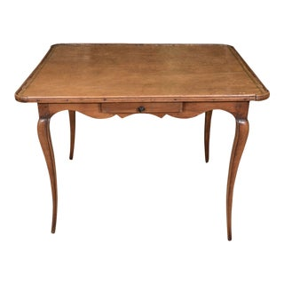 French Antique Leather Top Games Table For Sale