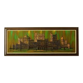 Original Van Gaard Mid-Century Cityscape Oil Painting For Sale
