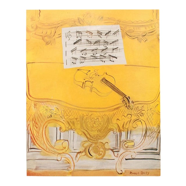 "1950s Raoul Dufy ""Yellow Console With a Violin"" First Edition Lithograph For Sale"