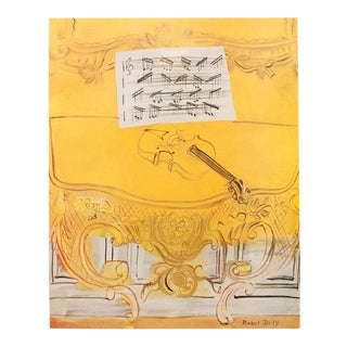 "1950s Vintage Raoul Dufy ""Yellow Console With a Violin"" Reproduction Lithograph Print For Sale"