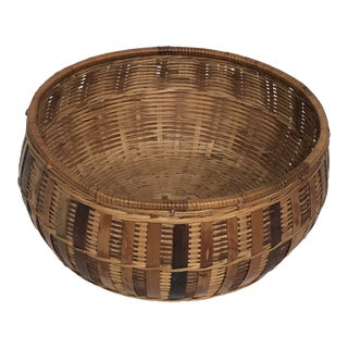 Vintage Woven Basket Bowl For Sale
