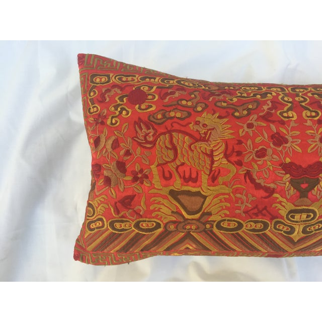 Silk Embroidered Foo Dog Boudoir Pillow For Sale - Image 7 of 7