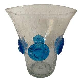 Vintage Blenko Crackle Glass Vase With Blue Prunts For Sale