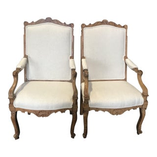 Antique French Louis XV Light Walnut Armchairs -A Pair For Sale