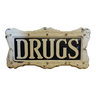 """1900s Federal Electric Company Light Up """"Drugs"""" Sign"""