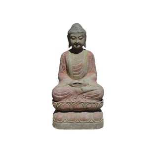 Chinese Distressed Gray Stone Sitting Cross Leg Lotus Base Buddha Statue