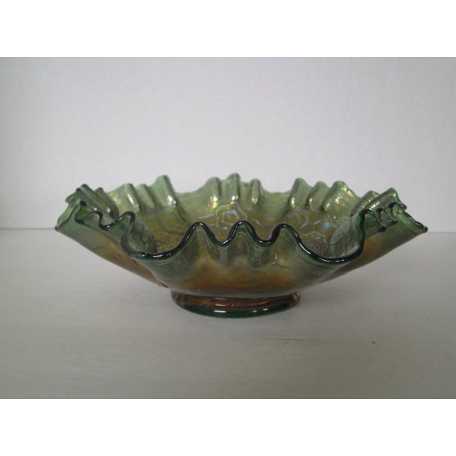 Emerald Green Rose Carnival Glass Bowl - Image 2 of 7