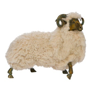 Lanlanne Style Solid Bronze & Fur Sheep Sculpture For Sale