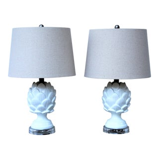 Contemporary White Pineapple Table Lamps - A Pair For Sale