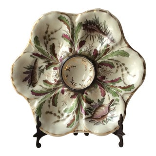 1880s Antique French Majolica, Hand Painted Oyster Plate For Sale