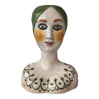 1960s Italian Horchow Ceramic Head Vase For Sale
