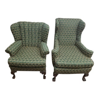 20th Century Traditional Palm Tree Motif Wingback Chairs - a Pair