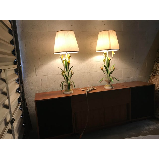1970 Italian Tole Table Lamps - a Pair For Sale - Image 10 of 13