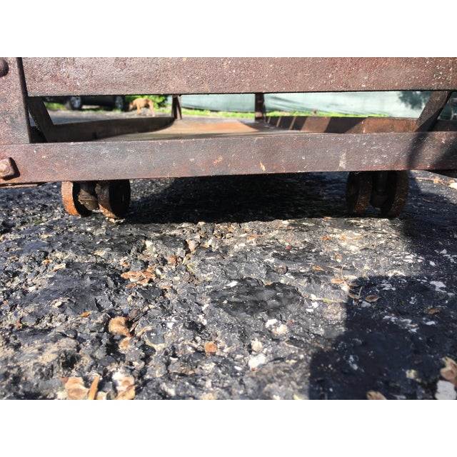 Antique Industrial Rolling Cart With Shelves For Sale - Image 10 of 13