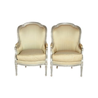 A Pair of French Louis XVI Style Bergeres For Sale