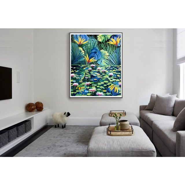 "Blue ""Reflection"" Tropical Acrylic Painting For Sale - Image 8 of 10"