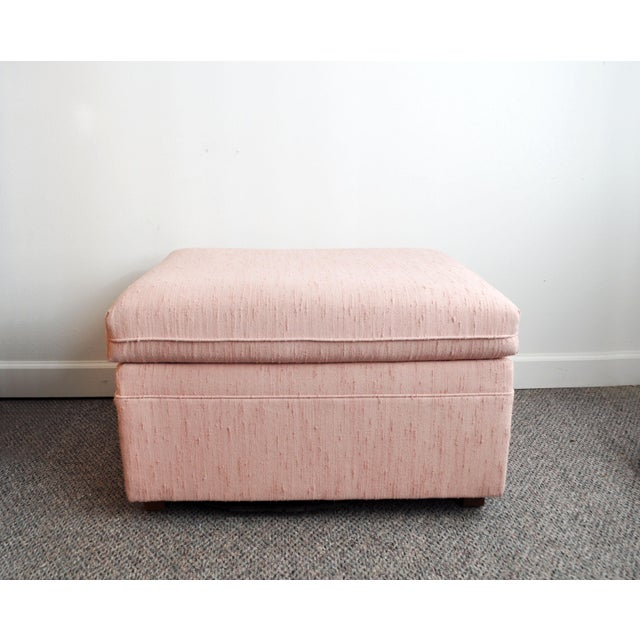 Blush Pink Upholstered Ottoman For Sale - Image 9 of 9