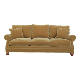 Custom Gold Mohair 3 Seat Cushion Upholstered Sofa For Sale