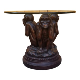 Whimsical Round Glass Top Table on Revolving Three Wise Monkey Base For Sale