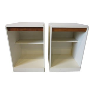 70's Walnut / Cream Lacquer Nightstands For Sale