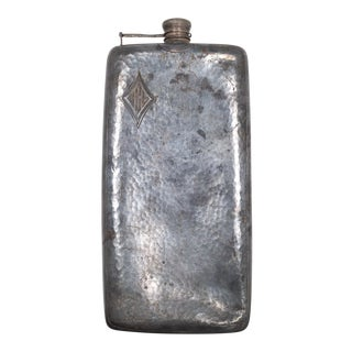 Antique Oversized Hand Hammered Monogrammed Flask C.1920-1930 For Sale