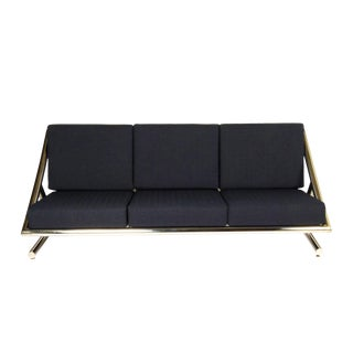 Plato Ginello Dark Blue Cushioned Polished Steel Sofa For Sale