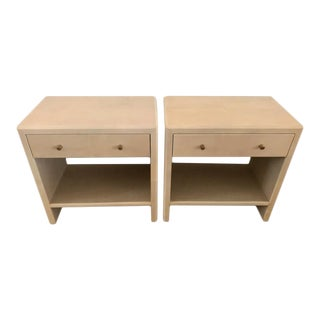 Polished Faux Vellum Bedside Tables For Sale