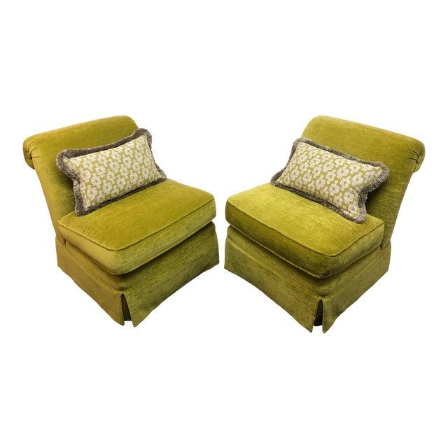 Manuel Canovas Slipper Chairs, a Pair For Sale
