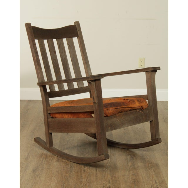 High Quality American Made Solid Oak, Weathered Rocker, Leather Set - Unsigned Maker - Possibly Stickley Store Item#: 26423
