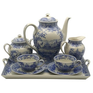 "16"" Pagoda Blue/White Transferware Porcelain Tea Set With Tray - Antique Reproduction - 10 Pieces For Sale"