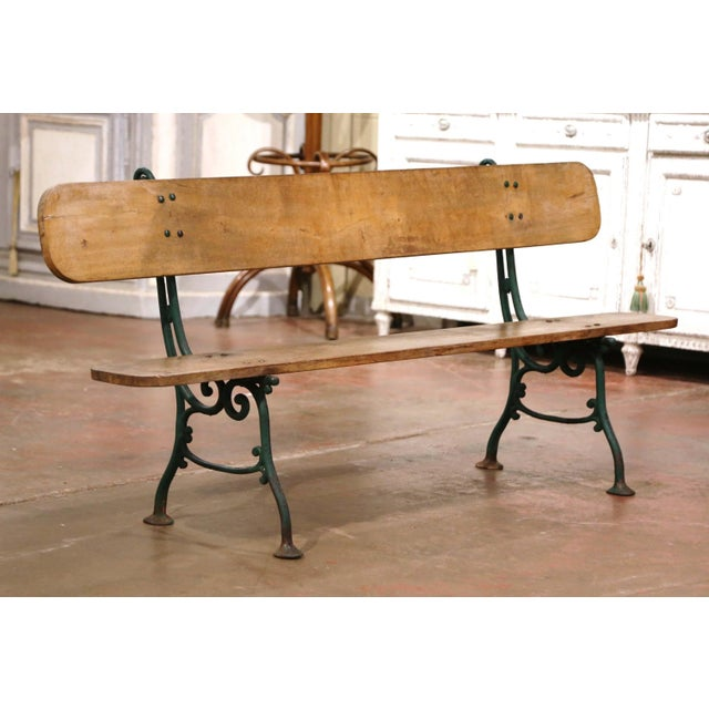 Tan Early 20th Century French Oak and Green Painted Cast Iron Garden Bench For Sale - Image 8 of 12