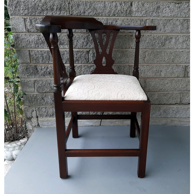 1980s The Bartley Collection Furniture Solid Mahogany Corner Chair Embroidered Linen Upholstered Seat For Sale - Image 5 of 13