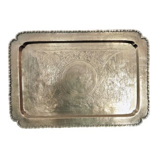 Traditional Chinese Etched Rectangular Brass Tray or Wall Hanging For Sale